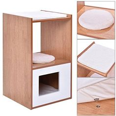 Double Deck Cat Box Cushion Cleaning Enclosure Hidden Pet Bed Furniture Wood New *** You can find more details by visiting the sponsored image link.