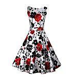 Feminino Bainha / Rodado Vestido,Casual estilo antigo / Simples Floral Decote Redondo Altura dos Joelhos Sem Manga Branco AlgodãoTodas as de 2017 por R$39.51
