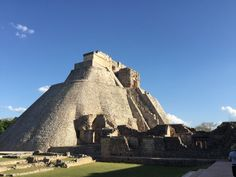 The Pyramid of the Magician in the ancient Mayan city of Uxmal in Mexico