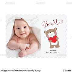 Huggy Bear Valentines Day Photo 5x7 Paper Invitation Card