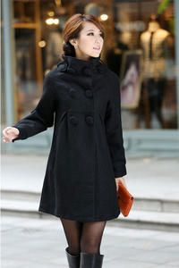 Black Elegant Designed By Koreans Coat in Modern Cut With Big Buttons Like