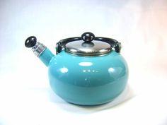 Vintage Aqua Tea Kettle Metal Enamel