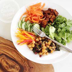 Nourishing bowl: Morrocan sweet potato and coconut-lemon roasted chickpea salad with orange dressing (vegan, gluten-free, partly raw)