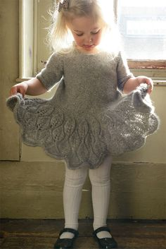 Knitting Pattern for Maddie Children's Dress - Leaf lace decorates the flared sk. Knitting Pattern for Maddie Children's Dress - Leaf lace decorates the flared skirt, sleeves and back of this adorable d. Baby Knitting Patterns, Baby Patterns, Dress Patterns, Skirt Knitting Pattern, Lace Knitting, Knitting Needles, Girls Knitted Dress, Knit Baby Dress, Baby Girls Clothes