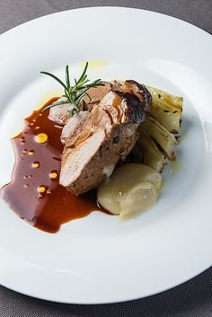 @ Relais & Chateaux Il Borro. Crispy suckling pig with apple purèe, sauteed thyme fennels and vin santo sauce