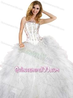ef0cbb71e4 2014 New Arrival Strapless Appliques and Ruffles White Quincenera Dresses  Little Girl Pageant Dresses