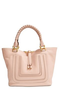 Love the subtle, sophisticated details of this soft pink Italian leather Chloé tote.