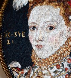 Artist Crafts Embroidery Accessories Inspired by Renaissance Paintings Creative Embroidery, Modern Embroidery, Embroidery Art, Machine Embroidery, Johannes Vermeer, Noctis, Renaissance Paintings, Renaissance Art, Portrait Embroidery