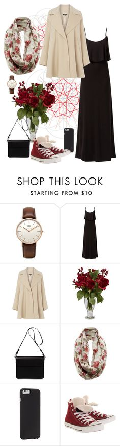 """elegant in black"" by yusiymn ❤ liked on Polyvore featuring Daniel Wellington, Warehouse, Nearly Natural, Orla Kiely, Case-Mate, Converse, StreetStyle, SimpleOutfits, converse and blackdress"