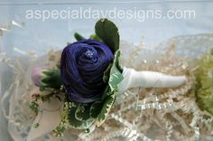 Purple sola wood flower boutonniere by A Special Day Designs of Shingle Springs, CA