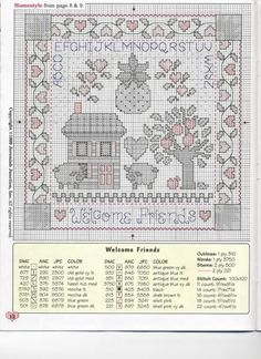 Schemi Punto Croce Country Welcome Neighbor Welcome Neighbor Welcome Neighbor Welcome Sampler Welcome Sampler Welcome Sampler Cross Stitch House, Cross Stitch Heart, Cross Stitch Samplers, Counted Cross Stitch Patterns, Cross Stitch Designs, Cross Stitching, Embroidery Sampler, Cross Stitch Embroidery, Cross Country