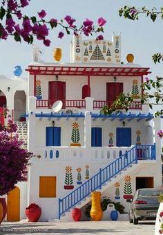 Colorful house in Mykonos, Greece