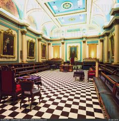 STOCK IMAGE - Grand Lodge Room, Freemasons Hall, Dublin, Ireland; Interior of Irish Masonic lodge by www.DIOMEDIA.com