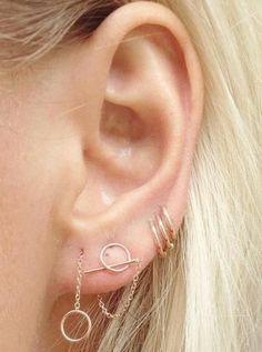 Simple Multiple Ear Piercings at MyBodiArt
