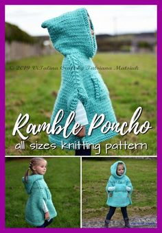 Charming poncho knitting pattern in sizes infant to adult XL. Love this gorgeous hooded poncho! Perfect for fall! Knitting ProjectsKnitting HatCrochet PatronesCrochet Amigurumi Charming poncho knitting pattern in sizes infant to adult XL. Easy Knitting Projects, Knitting For Kids, Free Knitting, Diy Projects, Baby Poncho, Hooded Poncho, Poncho For Kids, Girls Poncho, Baby Cardigan