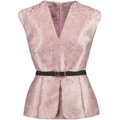Mary Katrantzou Mirage metallic jacquard peplum top (50.090 RUB) ❤ liked on Polyvore featuring tops, blouses, pastel pink, loose fitted tops, pink top, pink peplum top, overlay top and peplum tops