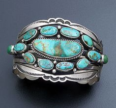 Aaron Toadlena (Navajo) - Pilot Mountain Turquoise Cluster & Sterling Silver Cuff Bracelet #36039 $1,050.00