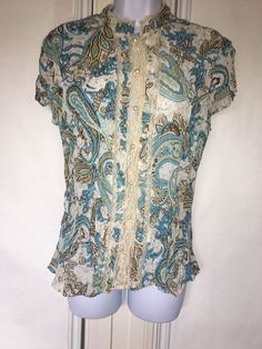 34271489 Faded Glory Womens Top Blouse Cap Sleeves Pearl Buttons Size 8-10 Medium  #FadedGlory #Blouse #Casual