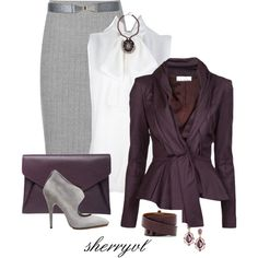 """Aubergine For The Office Contest"" by sherryvl on Polyvore"