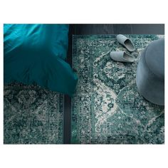 VONSBÄK Rug, low pile, green, Length: 9 ' The oriental-vintage expression has the charm of looking worn and adds a special character to the room. The pile is very low and works just as well by the sofa as under the dining table.