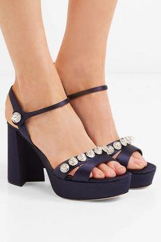 ffa46cc6cb6 Miu Miu - Crystal-embellished Satin Platform Sandals - Navy. Navy Blue High  HeelsAnkle Strap ...