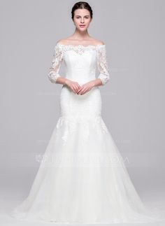 Trumpet/Mermaid Off-the-Shoulder Sweep Train Zipper Up Sleeves 3/4 Sleeves Church General Plus No Winter Spring Fall Ivory Tulle Lace Wedding Dress