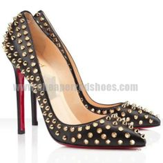 55598d03f61 Christian Louboutin Shoes Pigalle 120 Spikes Studded Pumps Black Red  Bottoms