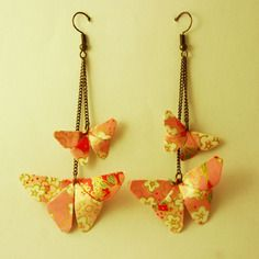 Boucles d'oreilles origami papillons roses