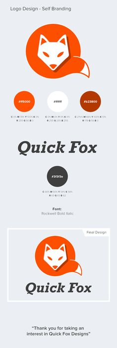 Quick Fox Designs - Self Branding on Behance Self Branding, Logo Branding, Personal Branding, Typography Logo, Logos, Typography Design, Identity Design, Corporate Identity, Visual Identity