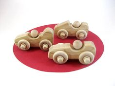Little Wooden Toy Race Cars Set Of 3 Natural Maple