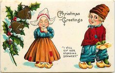 Christmas 1908 Dutch Kids Candy For Her Collectible Vintage Glitter Postcard #Christmas