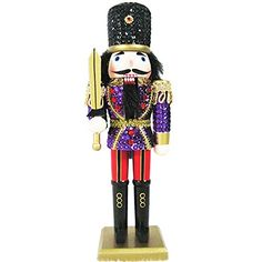 Christmas Nutcracker Figure Soldier Glitzy Purple Sequin Jacket With Sparkle Gold Details and Rhinestones 12 inch Exclusive Design -- You can get additional details at the image link.