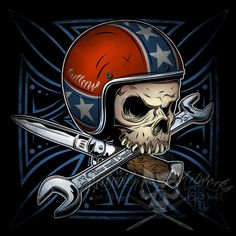3-colored Shirtprint... Rebel Flag Helmet Motorcycle Skull with crossed Knife and Wrench over Pinstriping Iron Cross... Yes, the helmet i have stolen from my own Artwork Speedfreak^^