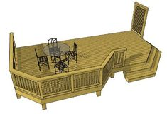 This basic 1 level deck features clipped corners, a cascading staircase, and a short privacy screen New Deck, Back Deck, Free Deck Plans, Deck Building Plans, Laying Decking, Cedar Deck, Pergola Plans, Pergola Kits, Deck Design