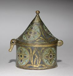Pyx, c. 1250 France, Limousin, Limoges, Gothic period, mid 13th century gilded copper, champlevé enamel, Overall - h:8.95 w:6.70 cm (h:3 1/2 w:2 5/8 inches).