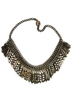 Image of Black irridescent chainmaille and crystal mini-fringe necklace + colors