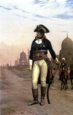 Napoleon in Cairo by Gerome (1868). The young would-be emperor is depicted striking a pose of quiet power, one hand resting on an Arab scimitar, the other holding a glove. The perspective is such that Napoleon appears rather taller than he actually was (he stood at 169 cm or 5 foot seven inches).