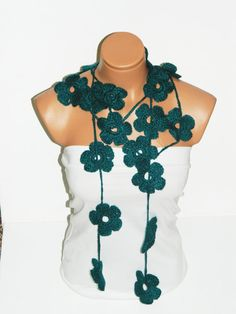 Hand made crochet oil blue Flower Lariat Scarf by WomanStyleStore, $25.00