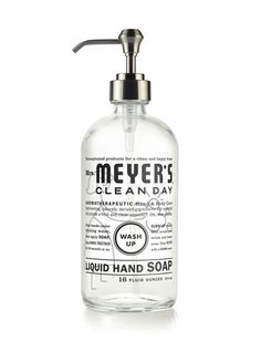 Meyer's Clean Day Glass Hand Soap Bottle is a refillable bottle with brushed nickel pump. This sturdy glass vessel comes unfilled and holds up to 16 oz of earth-friendly Liquid Hand Soap. Meyers Cleaning Products, Natural Cleaning Products, Cleaning Day, Cleaning Hacks, Green Cleaning, 2nd Hand Furniture, Liquid Hand Soap, Soap Pump, Glass Vessel