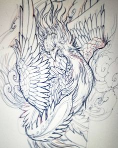 Phoenix sketch. #sketch #drawing #illustration #asianart #asiantattoo #irezumi #Phoenix #chronicink #tattoo