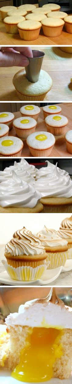 Lemon meringue cupcakes with a lemon curd center. Don't have a kitchen torch? Put the oven on broil and pop the frosted cupcakes in for seconds. Lemon Meringue Cupcakes Recipe, Yummy Cupcakes, Cupcake Recipes, Cupcake Cakes, Dessert Recipes, Lemon Cupcakes, Cup Cakes, Cupcake Ideas, Meringue Pie