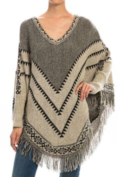 Printed Fringe Poncho Sweater