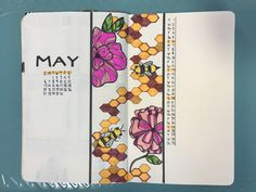May 2018 #bulletjournal cover page and calendar layout. I wanted to do a floral theme and saw flowers drawn like this online a few months ago. I thought bees and honey comb would accent it perfectly. This might be my favorite spread so far. #bujo