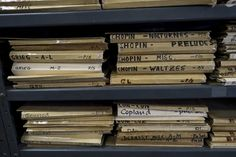 Sheet music lines the shelves at Frank Music