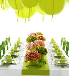 Lime green tablescape - dining room table - table setting - lime green paper lantern chandelier