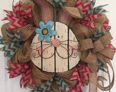 Easter Wreath Burlap Wreath Deco Mesh Wreath Rustic by RoesWreaths