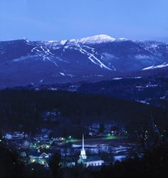 The Village of Stowe, Vermont with Mount Mansfield in the background. It's the highest mountain in Vermont.
