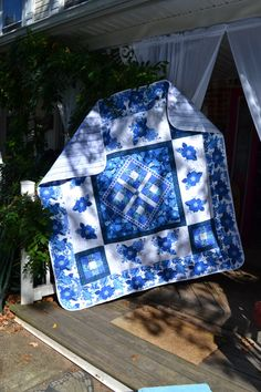 China Blue and White Floral Rose Stained by TrueloveQuiltsForYou, $320.00