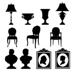 Free SVG | Baroque Objects chairs lamps pictures busts vases