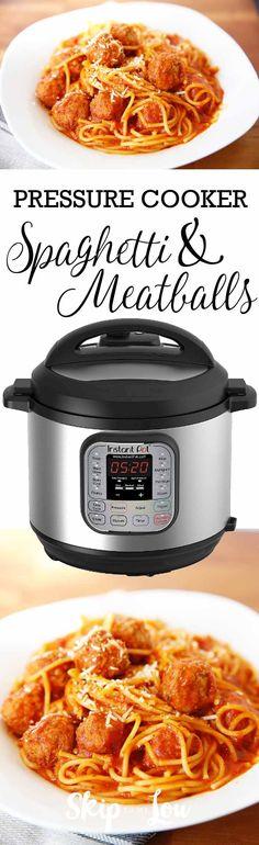 Easy pressure cooker spaghetti and meatballs dinner recipe.